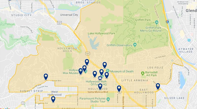 Mapa das melhores regiões para ficar em Los Angeles