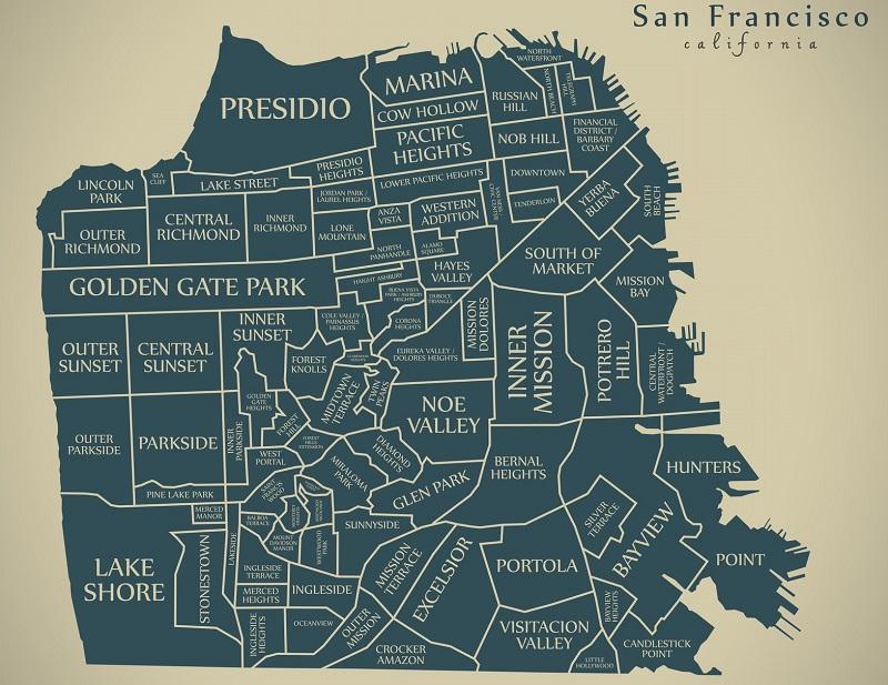 Mapa com as regiões/atrativos de San Francisco