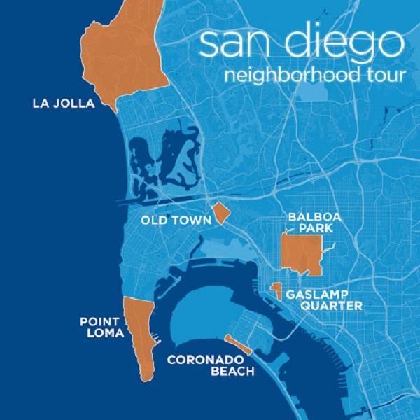Mapa com as melhores regiões onde ficar em San Diego