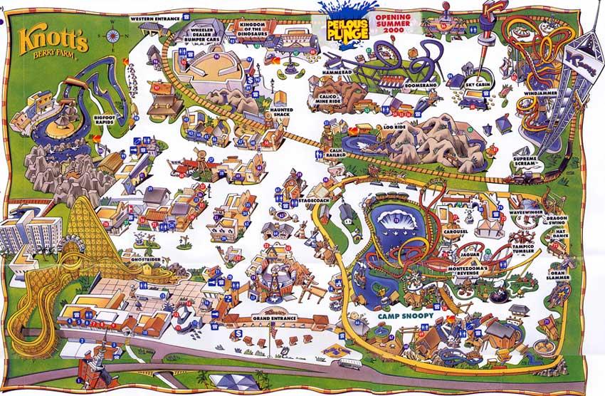 Mapa do Parque Knotts Berry Farm na Califórnia