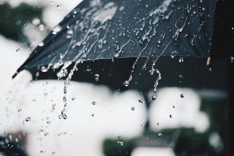 Chuva caindo de sombrinha