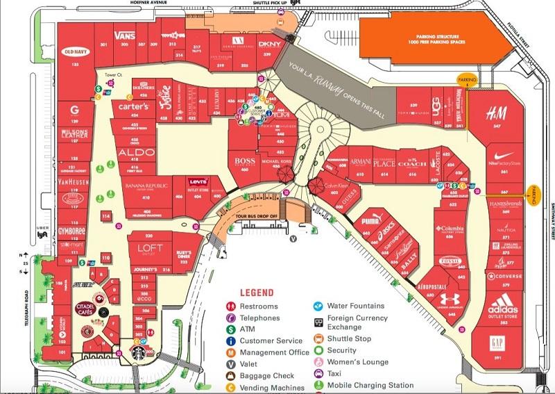 Citadel Outlets Los Angeles - Mapa