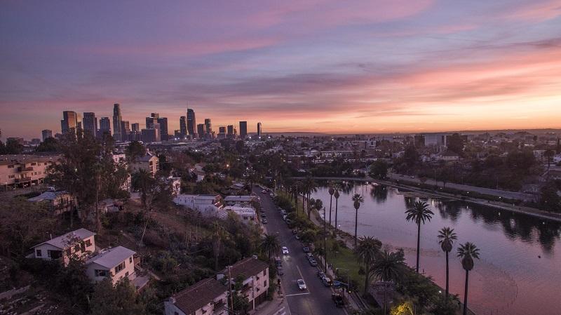 Cenário de Los Angeles durante a Primavera