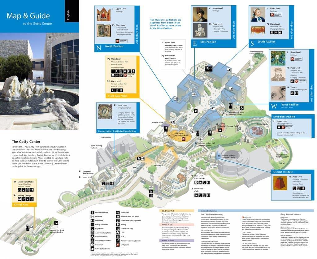 Mapa do Getty Center Museu em Los Angeles