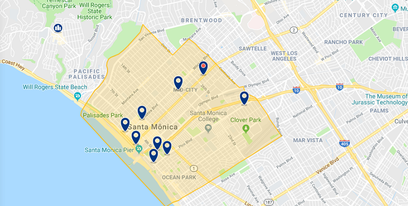 Mapa das principais regiões para ficar em Santa Mônica