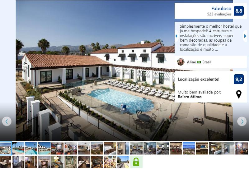 Área externa do hotel The Wayfarer em Santa Bárbara