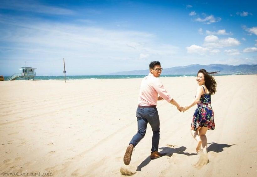 Passeio romântico nas praias de Los Angeles