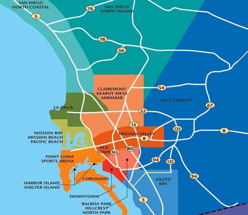 Mapa turístico de San Diego