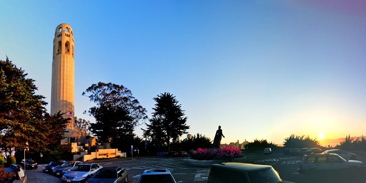 Mirante Coit Tower em San Francisco na Califórnia