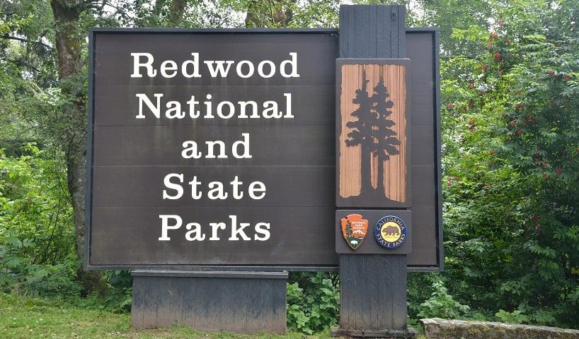 Entrada do Parque Nacional de RedWood na Califórnia