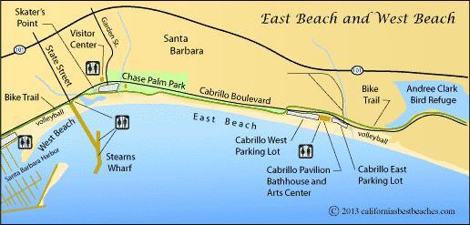 Mapa da Praia West Beach em Santa Bárbara