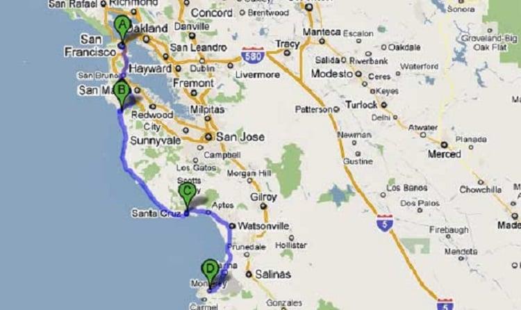 Tempo de viagem de San Francisco à Santa Mônica