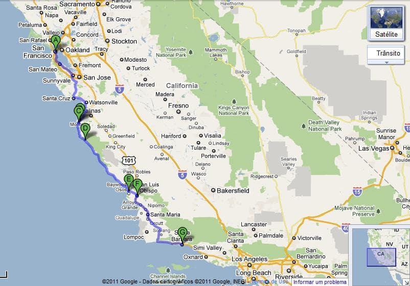 Tempo de viagem de San Francisco à Santa Bárbara
