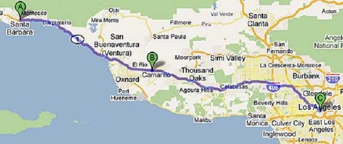 Mapa de uma viagem de carro de Santa Bárbara à Los Angeles