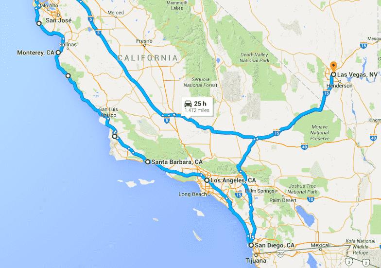 Mapa de uma viagem de carro de Santa Bárbara à San Diego