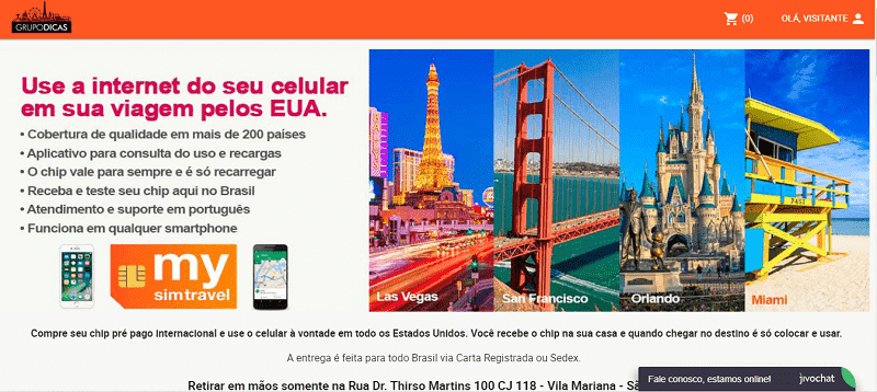 Site para comprar chip pré pago internacional e usar o celular à vontade em San Diego
