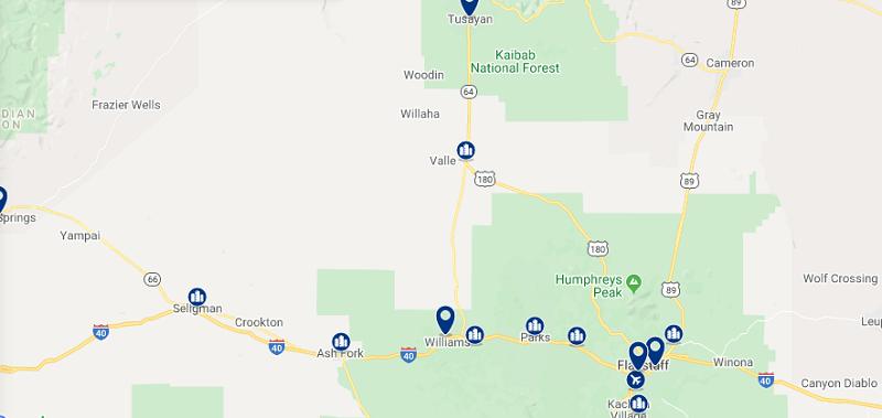 Mapa com as melhores regiões para ficar no Grande Canyon