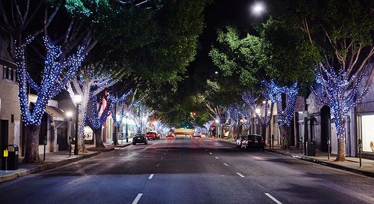 Noite na Old Pasadena em Pasadena