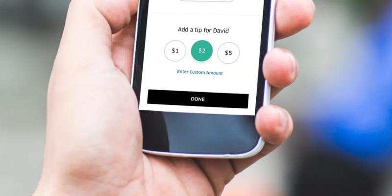 Área de pagamento do app Uber