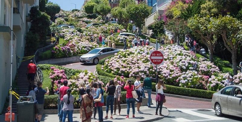 Tirando fotos na rua Lombard Street - San Francisco